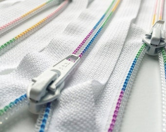 YKK 5mm Rainbow Nylon Coil Zippers-  1 pc- 501 White- Available in 7, 9, 12 and 22 Inches