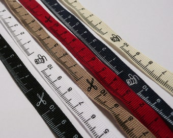 2 metres of Tape Measure Grosgrain Ribbon 10mm wide - 10cm of ruler measurements only - White, Navy, black, Cream, red, natural taupe beige