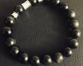 Obsidian and stainless steel bracelet