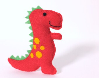 Felt Plushie Hand sewing Pattern PDF. Complete instructions to make Chomp the T-Rex Dinosaur. Instant download.