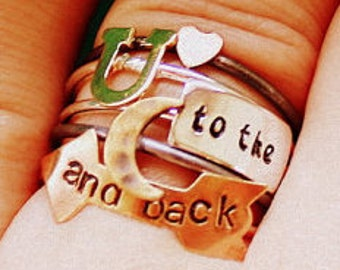 Love You To The Moon And Back Stacking Rings (stack of 5)