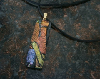 SALE Dichroic Fused Glass Pendant in Orange and Gold, Dichroic Pendant with Cord, Dichroic Jewelry, Willow Glass