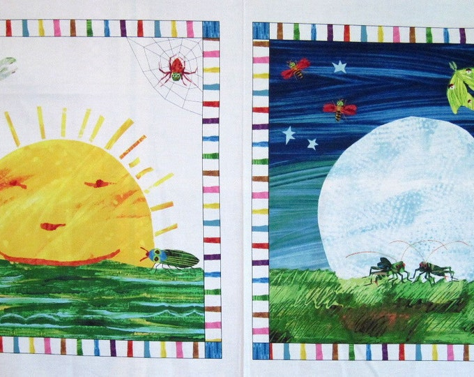 The Very Hungry Caterpillar DAY/NIGHT Quilt Fabric PANEL Very Series
