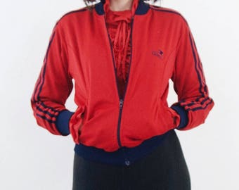 SALE red track jacket   80s red racer stripe jacket, small - medium