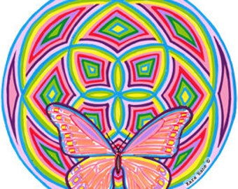Cosmic Circle, Groovy Wings, Window cling, Sacred Geometry, SunCatcher, Butterfly, Home & Car decor, Vinyl Sticker Art, Eco friendly Art