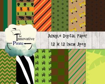 Jungle Safari Digital Paper Pack - Safari Backgrounds - Jungle Backgrounds - Zoo Digital Paper Pack - Zoo Backgrounds - Africa DIgital Paper