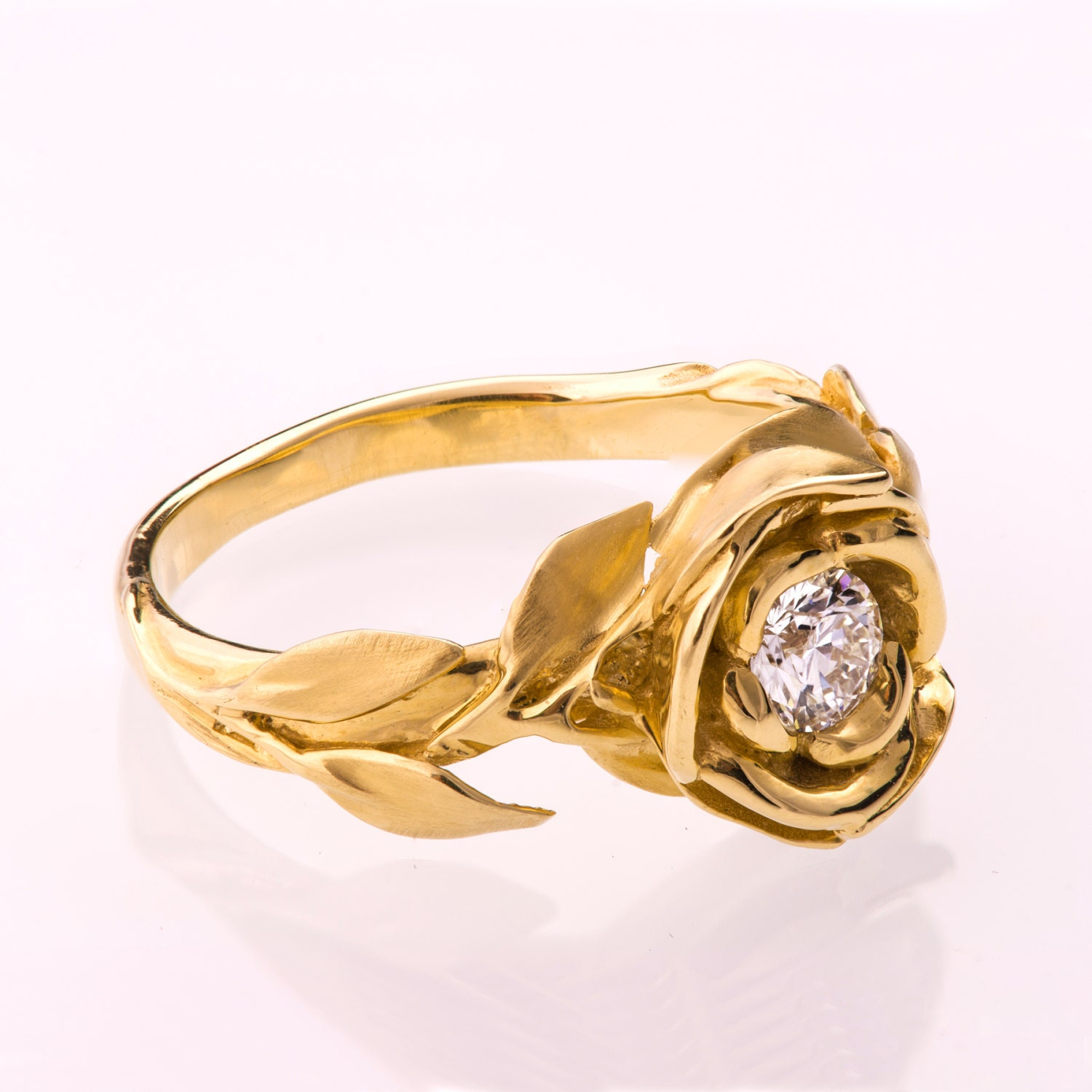 Rose Engagement Ring 14K Gold and Diamond ring engagement