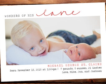 Christmas Birth Announcement Baby Announcement Baby - Christmas birth announcement