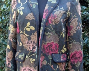 BOHO CHIC BLAZER, Vintage Jacquard Floral Brocade Black, Short Jacket, Tapestry, Festival Gypsy red roses flowers embroidery, Hippie Coat, S