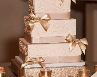 "Wedding Cake Stand ""Square Rose Gold"" 14"", 16"", 18"", 20"", and 22"" cake stand"