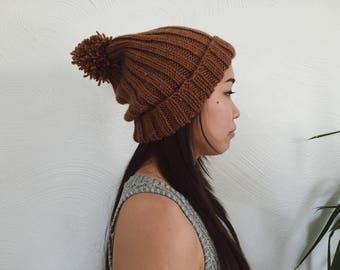 Orange-Brown Knit Beanie