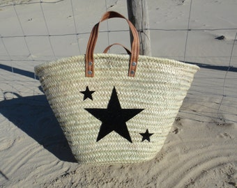 Basket of beach or market in black glitter