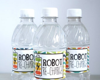 Robot Water Bottle Labels - Robot Birthday - Robot Party - Bot Birthday - Robot Labels- Boy Robot - SET OF 12