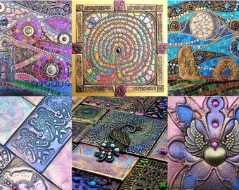 Pack of 6 mosaic greeting cards, set of 6 blank cards