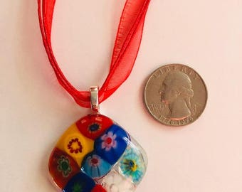 Fused Glass Pendant,  Millefiori Glass Looks Like a Stained Glass Window