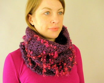 Crocheted Purple and Pink Big Chunky Thick Knit Cowl Scarf - Grape Fizz Loop Scarf for an Adult Female