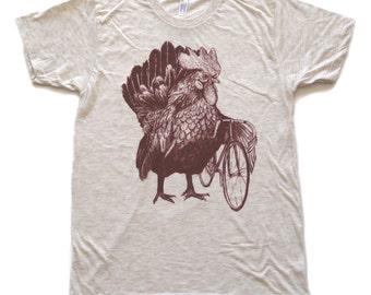 Chicken Bicycle- Mens T Shirt, Unisex Tee, Tri Blend Tee, Handmade graphic tee, sizes xs-xxl