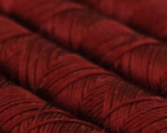 SILKA natural silk embroidery thread, spool of 32 ft (10m), DBORDEAUX RED 1194