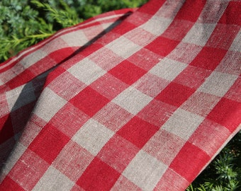 Set of 2 Chequered and Modern (RED and GRAY) Linen Tea Towels - Kitchen Towels - SET of 2