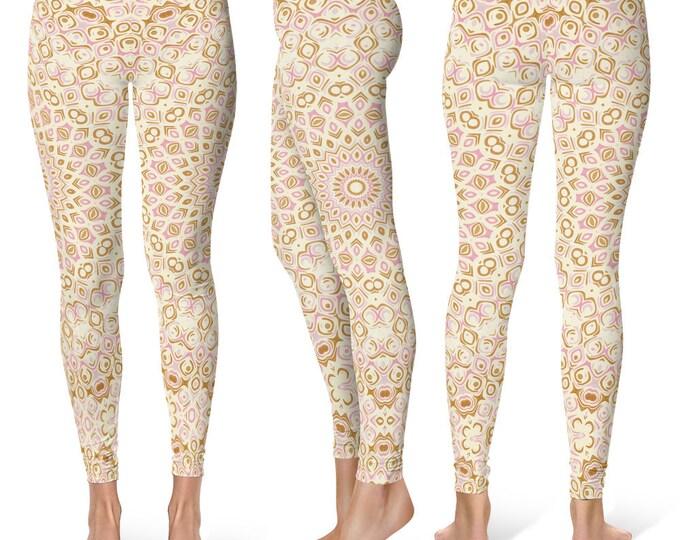 Bridesmaid Leggings Yoga Pants, Cute Printed Yoga Tights for Women, Pink and Gold Mandala Pattern