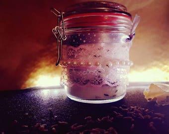 Lavender bath salts made in glass-handmade