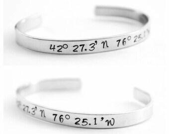 Latitude Longitude Bracelet, Coordinate Bracelet, Coordinate Cuff, Latitude Longitude Cuff, Personalized Bracelet, Personalized Jewelry