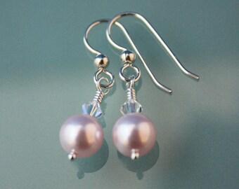 Swarovski Rosaline and Crystal AB sterling pierced earrings
