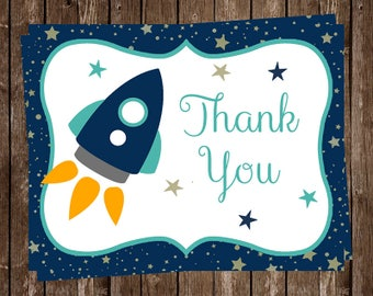 Rocket Ship Thank You Cards, Baby Shower, Boys, Outer Space, Spaceship, Blue, 1st Birthday, Astronaut, Blast Off, Aqua, 20 Folding Notes