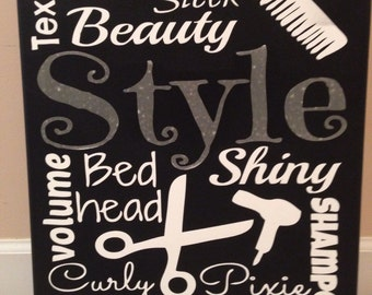 Custom Canvas Hair Products Salon Subway Art