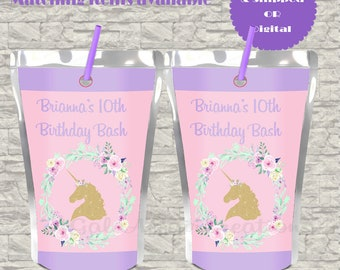 Unicorn Juice Pouch LABELS ONLY-Unicorn Party-Digital File-Personalized Label-Party Favor
