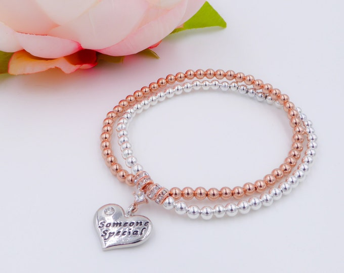Rose gold and silver bracelet with personalised charm, sister, bride, bridesmaid, girlfriend,someone special, crystal, mum, nan, auntie