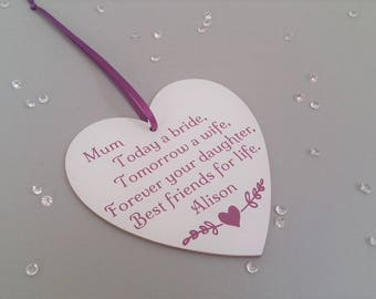 Personalised Mother of the Bride gift from daughter, Sentimental gift, Mum of the bride gift, Today a bride tomorrow a wife, more colours