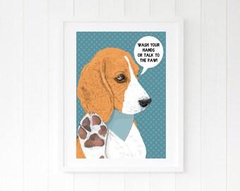 Beagle funny bathroom art - Hound dog toilet wall art - illustration art prints wall decor - Washroom Wash your hands Bathroom rules artwork