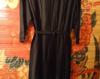 Vintage 1990s Black Shirt Sash Tie Belt Dress