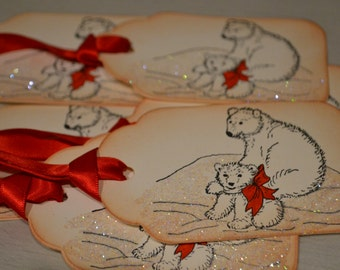 Adorable Vintage Inspired Polar Bear Gift Tags