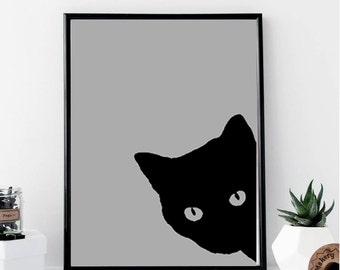 Black Cat Print // Minimalist Poster // Wall Art Print // Fashion // Scandinavian Poster // Boho // Modern // Gift for Cat Lover // Home
