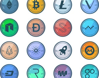 Cryptocurrency Icon Set - Bitcoin - Clip Art