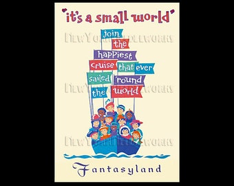 Vintage Disney Poster Cross Stitch, It's a Small World Poster, Vintage Disneyland, Disney, Fantasyland, Small World by NewYorkNeedleworks