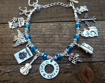 All About Me, Custom Charm Bracelet, Personalized Charm Bracelet, My Favorite Things, Hand Stamped Charm, Swarovski Crystals, Made To Order