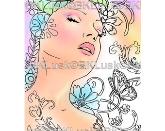 B. K. Lusk - Digital Download Digistamp - Clipart Zentangle Mermaid Fairy Coloring Page - Tattoo Flash Scrapbook Craft Art