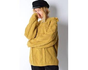 Vintage 80s Mustard Knit Textured Wool Blend Flower Jumper Size M/L 4_61117_G