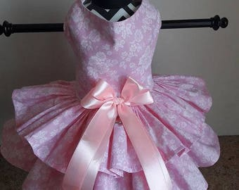 Dog Dress Pink with white flowers