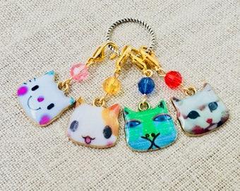 Enamel Cat Lover Stitch Markers- Cat Place Holders- Cat Crochet Markers-  Knitting Stitch Markers- Lightweight Stitch Markers- Kitty Markers