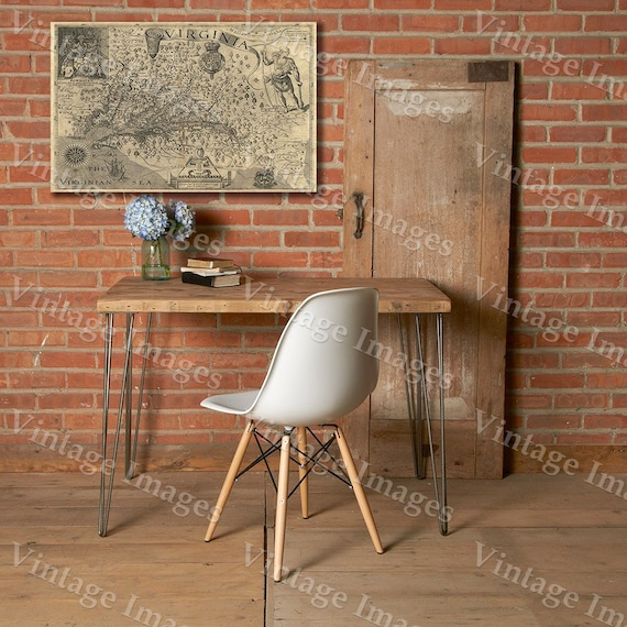 """Map of Virginia 1607 historic John Smith Old Antique Restoration decorator Style Virginia wall Map sizes up to 43"""" x 55' Old Virginia Map"""