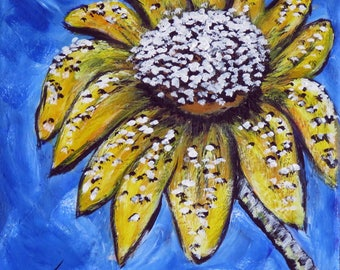 Sunflower Wall Decor, 8x8 inch Stretched Canvas, Original Acrylic Painting, Handpainted Flower Wall Art, Whimsical Daisy Painting, Gift Idea