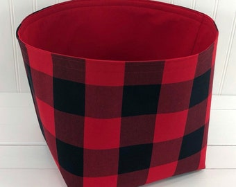 Buffalo Plaid Storage Basket Woodland Nursery Lumberjack Baby Boy Nursery Decor Home Decor Baby Shower Gift Red Black - Large 10 x 10