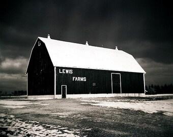 barn photo, black white landscape, photography print, country landscape photo, decor, holga, farm photo, landscape, snow, winter, dramatic