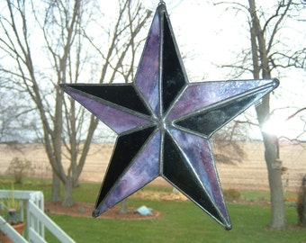 Purple and Black Nautical Stained Glass Star Suncatcher