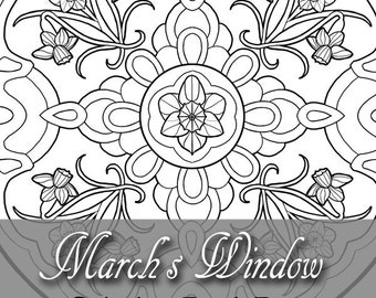 Printable Coloring Book Page for Adults - March Birth Flowers Daffodils Art Nouveau Mandala Stained Glass Window