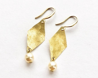 Earrings hammered raw brass pearl repurposed from vintage Rusted Pearl